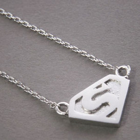 Sterling Silver Superman Necklace White Gold