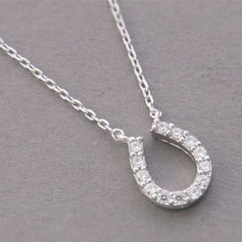 White Gold Swarovski Horseshoe Necklace Sterling Silver