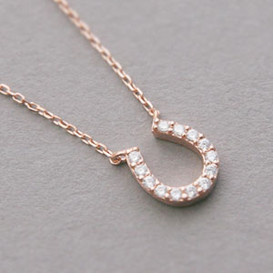 Rose Gold Swarovski Horseshoe Necklace Sterling Silver