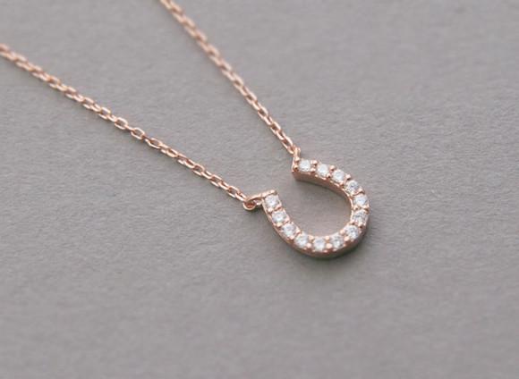 Rose Gold Swarovski Horseshoe Necklace Sterling Silver ON KELLINSILVER.COM