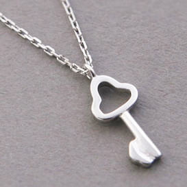 Tiny Clover Skelection Key Necklace Sterling Silver