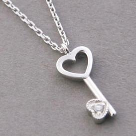 CZ Tiny Heart Skelecton Key Necklace Sterling Silver