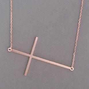 Rose Gold Sideways Cross Necklace Sterling Silver