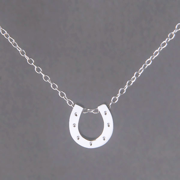 White Gold Horseshoe Necklace Sterling Silver