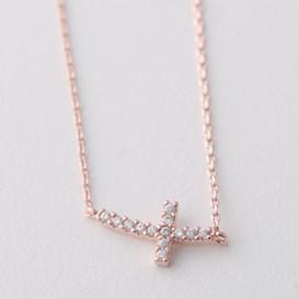 Rose gold sideways cross necklace sterling silver kellinsilver rose gold swarovski curved sideways cross necklace sterling silver aloadofball Gallery