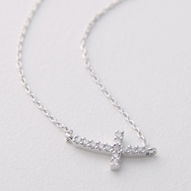 White Gold Swarovski Curved Sideways Cross Necklace Sterling Silver