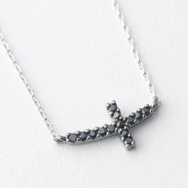 Black Swarovski Curved Sideways Cross Necklace Sterling Silver