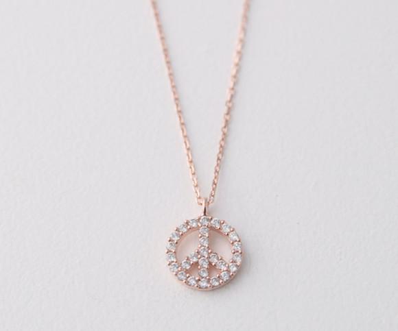 Rose Gold Swarovski Peace Sign Necklace Sterling Silver from kellinsilver.com