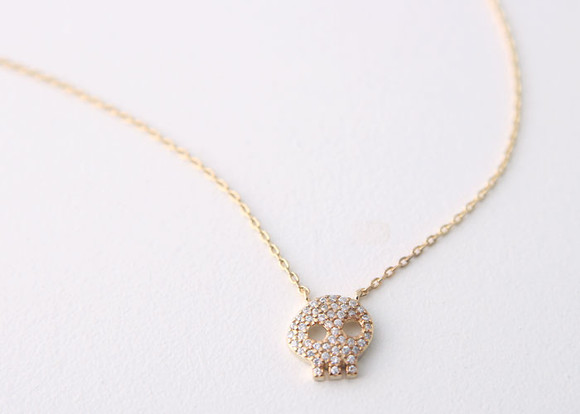 Yellow gold swarovski skull necklace sterling silver swarovski skull necklace sterling silver image 1 mozeypictures Images