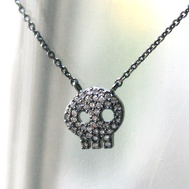 Black Swarovski Skull Necklace Sterling Silver