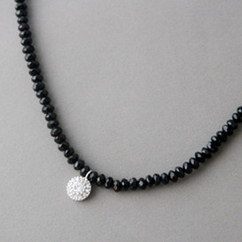 Handcrafted Onyx Bead Necklace with CZ Silver Charm