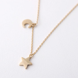 Yellow Gold Crescent Moon and Star Necklace Sterling Silver