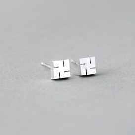 Tiny Buddhism Swastika Earrings Studs Sterling Silver
