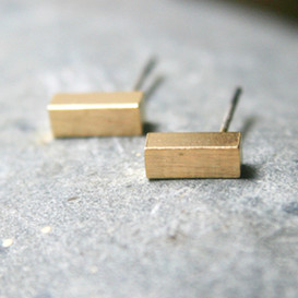 Gold Hexahedron Bar Earrings Studs