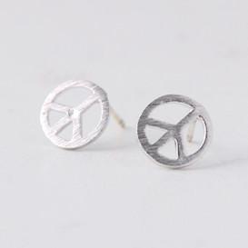 Peace Sign Stud Earrings Silver Post