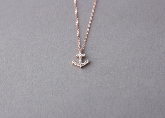 Rose gold swarovski anchor necklace sterling silver kellinsilver rose gold swarovski anchor necklace sterling silver from kellinsilver aloadofball Images