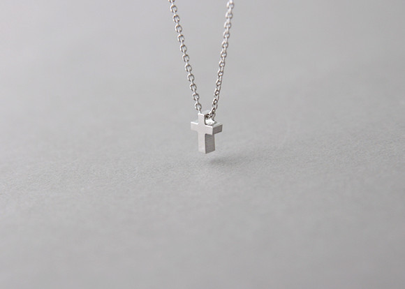 Tiny cross necklace sterling silver kellinsilver image 1 mozeypictures Gallery