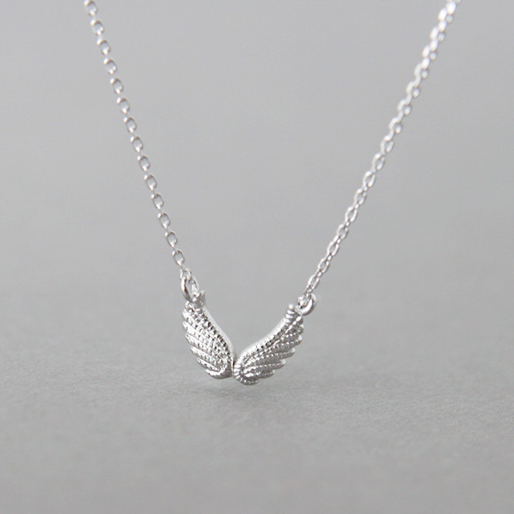White Gold Double Angel Wing Necklace Sterling Silver