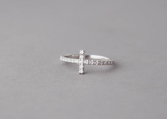 cz sideways cross ring white gold kellinsilver