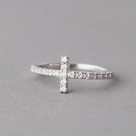 CZ Sideways Cross Ring White Gold
