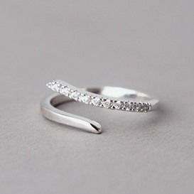 CZ Curved Bypass Ring White Gold