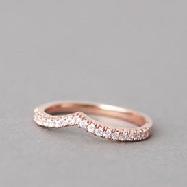 CZ Tiara V Ring Rose Gold from kellinsilver.com