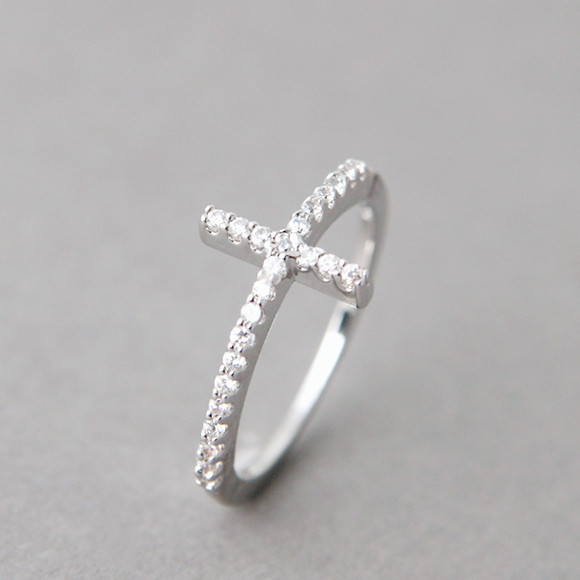 White Gold Cz Sideways Cross Ring Sterling Silver