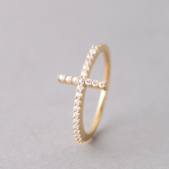 Yellow Gold CZ Sideways Cross Ring Sterling Silver from kellinsilver.com