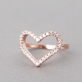 Swarovski Heart Ring Rose Gold from kellinsilver.com