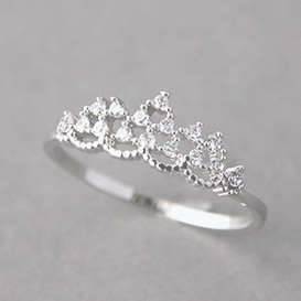 CZ Princess Tiara Ring White Gold from kellinsilver.com