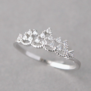 Cz Princess Tiara Ring White Gold Kellinsilver Com