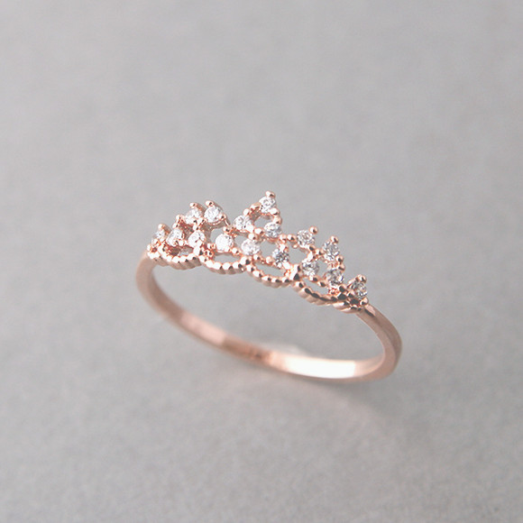 cz princess tiara ring gold kellinsilver