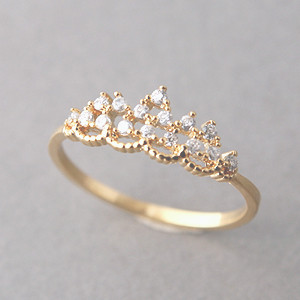 Cz Princess Tiara Ring Gold Kellinsilver Com