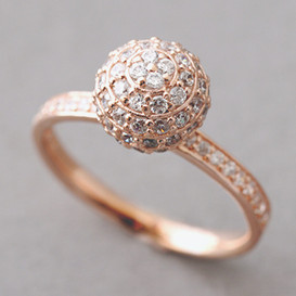Rose Gold Pave Ball Ring Sterling Silver