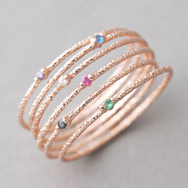 Color Stone Textured Tin Rings Rose Gold Set of 6 from kellinsilver.com