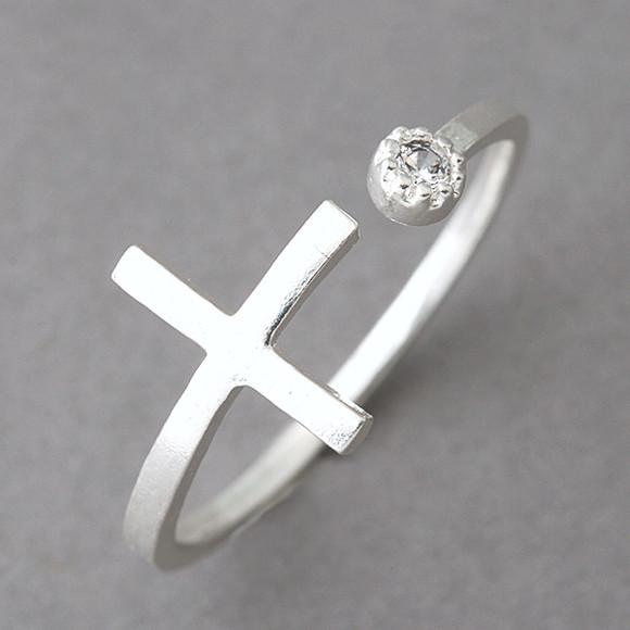 CZ Sideways Cross Wrap Ring Sterling Silver from kellinsilver.com