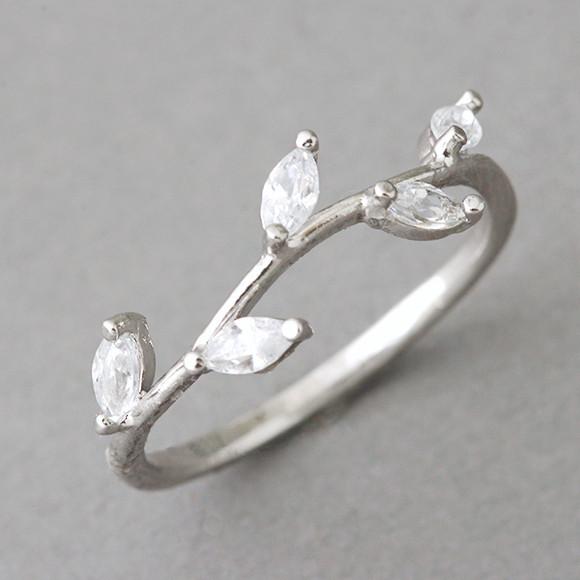 Cz White Gold Olive Ring Kellinsilver Com