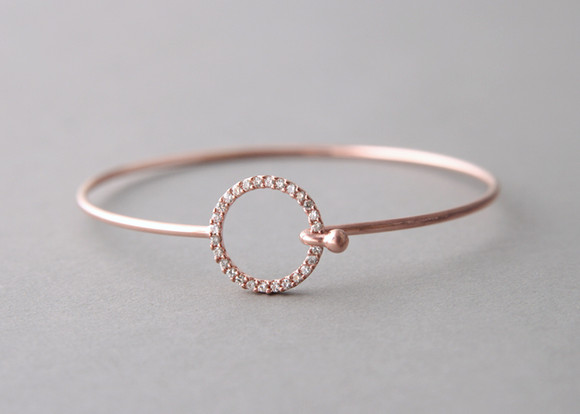 Pave Swarovski Circle Cuff Rose Gold FROM KELLINSILVER.COM