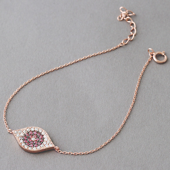 Pave Ruby Swarovski Evil Eye Bracelet Rose Gold