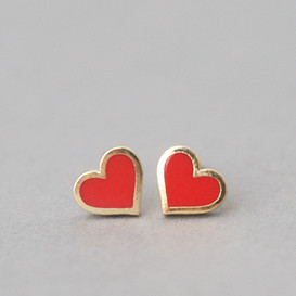 Red Heart Stud Earrings Silver Post