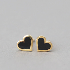 Black Heart Stud Earrings Silver Post
