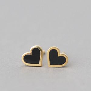 Black Heart Stud Earrings Silver Post Kellinsilver Com
