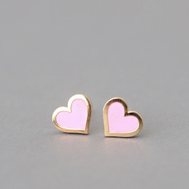 Pink Heart Stud Earrings Silver Post