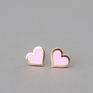 Pink Heart Stud Earrings Silver Post Kellinsilver Com