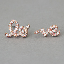 CZ Rose Gold Love Word Earrings Studs from kellinsilver.com
