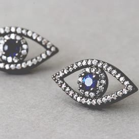 Swarovski Black Evil Eye Earrings Stud from kellinsilver.com