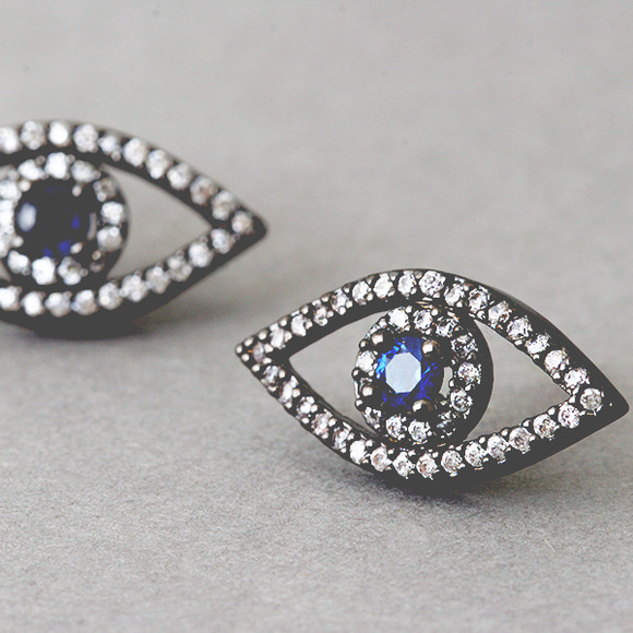 Swarovski Black Evil Eye Earrings Silver Post ...