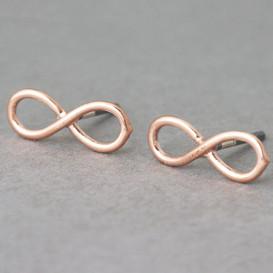Rose Gold Infinity Earrings Stud Silver Post