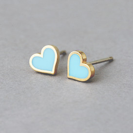 Turquoise Heart Stud Earrings Silver Post