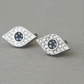 Pave Sapphire Swarovski Evil Eye Stud Earrings White Gold
